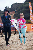 Former world surfing champion SOFIA MULANOVICH (PER) with DAN Ross (AUS). Bells Beach, Torquay Victoria, Australia (Wednesday, April 8 2009) -The 2009 Rip Curl Women's Pro Bells Beach started today with the running of Round One in one meter waves along the Rincon section of Bells beach. This years event at the iconic Bells Beach is event number 2 of 8 on the 2009 ASP Women's World Tour and it is the longest running ASP event. Defending Champion and current world champion STEPHANIE GILMORE (AUS) won her heat convincingly with SOFIA MULANOVICH (PER) and LAYNE BEACHLEY (AUS) also posting a strong win. Photo: joliphotos.com