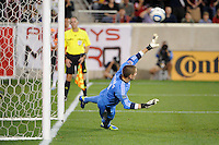 Portland Timbers goalkeeper Troy Perkins (1) fails to stop the penalty kick. The New York Red Bulls defeated the Portland Timbers 2-0 during a Major League Soccer (MLS) match at Red Bull Arena in Harrison, NJ, on September 24, 2011.