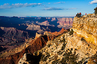 United States, Arizona, Grand Canyon. Navajo Point is close to Desert View, Painted Desert and the watchtower at Desert View can also be seen from here.