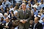 14 February 2016: Pittsburgh head coach Jamie Dixon. The University of North Carolina Tar Heels hosted the University of Pittsburgh Panthers at the Dean E. Smith Center in Chapel Hill, North Carolina in a 2015-16 NCAA Division I Men's Basketball game. UNC won the game 85-64.