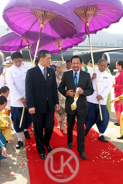The Sultan of Brunei, Hassanal Bolkiah arrives at Don Muang Airport to attend the celebrations to mark the 60th anniversary of Thai King Bhumibol Adulyadej's accession to the throne. He was met by Crown Prince Maha Vajiralongkorn of Thailand...Pool Picture supplied by UK Press Ltd