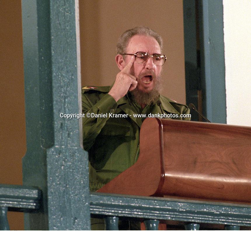 Fidel Castro gives speech celebrating the 40th anniversary of the Cuban revolution in Santiago de Cuba on Dec. 31, 1998.