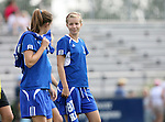 23 September 2007: Duke's Kelly McCann (18) and Kelly Hathorn (l). The Duke University Blue Devils defeated the Ohio State University Buckeyes 2-1 at Koskinen Stadium in Durham, North Carolina in an NCAA Division I Women's Soccer game, and part of the annual Duke Adidas Classic tournament.