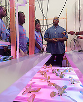 Issaye Fair, right, Pantry Assistant at CAMBA food pantry and farm acquaints participants in the Summer Youth Employment Program (SYEP) with their operations on the first day of the SYEP program at the hydroponics farm in Brooklyn in New York on Monday, July 7, 2014. The competitive program adds over 10,600 job slots to SYEP providing paid employment for up to six weeks in July and August. (© Richard B. Levine)