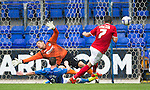 St Johnstone v York City...19.07.14  <br /> Tam Scobbie puts in a last ditch lunge to block Michael Coulson's goal bound shot<br /> Picture by Graeme Hart.<br /> Copyright Perthshire Picture Agency<br /> Tel: 01738 623350  Mobile: 07990 594431