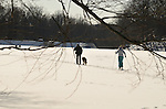 A couple cross-country skiing with their dog on Pocantic Lake in Pocantico Hills,  Westchester.