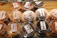 Different kinds of miso on sale in Sano Miso shop, Tokyo, Japan, May 25, 2009. Sano Miso sells 60 kinds of gourmet miso as well as varied miso products. The company was founded in 1934 and has four shops in Tokyo.