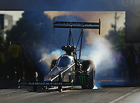 Jul 8, 2016; Joliet, IL, USA; NHRA top fuel driver Brittany Force during qualifying for the Route 66 Nationals at Route 66 Raceway. Mandatory Credit: Mark J. Rebilas-USA TODAY Sports