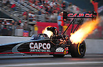 May 4, 2012; Commerce, GA, USA: NHRA top fuel dragster driver Steve Torrence during qualifying for the Southern Nationals at Atlanta Dragway. Mandatory Credit: Mark J. Rebilas-