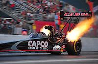 May 4, 2012; Commerce, GA, USA: NHRA top fuel dragster driver Steve Torrence during qualifying for the Southern Nationals at Atlanta Dragway. Mandatory Credit: Mark J. Rebilas-