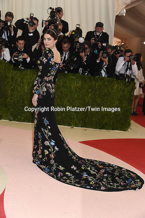 Bee Schaffer in Alexander McQueen dress attends the Metropolitan Museum of Art Costume Institute Benefit Gala on May 2, 2016 in New York, New York, USA. The show is Manus x Machina: Fashion in an Age of Technology. <br /> <br /> photo by Robin Platzer/Twin Images<br />  <br /> phone number 212-935-0770