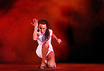 Expressive young beautiful woman performing on a stage Show-ballet troup A-6 play Passion is Stronger Than Love in Kiev Ukraine April 2007