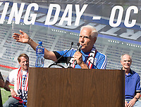 Earthquakes Owner Lew Wolff talks with the fans during Groundbreaking Ceremony at new stadium in Santa Clara, California on October 21st, 2012.  San Jose Earthquakes broke Guinness World Record for 6,256 people break ground on Quakes' new stadium.