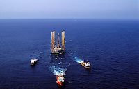 Oil rig under tow. South China Sea
