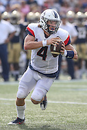 Annapolis, MD - September 9, 2016: Connecticut Huskies quarterback Bryant Shirreffs (4) in action during game between UConn and Navy at  Navy-Marine Corps Memorial Stadium in Annapolis, MD. September 9, 2016.  (Photo by Elliott Brown/Media Images International)
