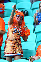 A Netherlands supporter in fancy dress cheers her side on