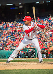 15 May 2016: Washington Nationals second baseman Daniel Murphy at bat against the Miami Marlins at Nationals Park in Washington, DC. The Marlins defeated the Nationals 5-1 in the final game of their 4-game series.  Mandatory Credit: Ed Wolfstein Photo *** RAW (NEF) Image File Available ***