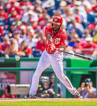 15 September 2013: Washington Nationals outfielder Denard Span in action against the Philadelphia Phillies at Nationals Park in Washington, DC. The Nationals took the rubber match of their 3-game series 11-2 keeping their wildcard postseason hopes alive. Mandatory Credit: Ed Wolfstein Photo *** RAW (NEF) Image File Available ***