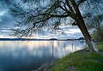 Idaho, North, Coeur d'Alene. Sunset on Lake Coeur d'Alene in spring.