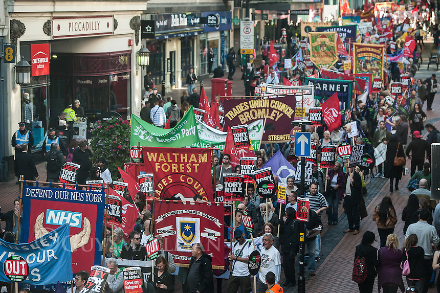 Trade Unions and the Peoples Assembly hold an anti austerity protest outside the Conservative Party Conference, 2-10-16