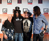 "Angry Anderson, Slash, Ian ""Molly"" Meldrum and Myles Kennedy at the media call for the MTV Classic launch at Maze Restaurant, Crown Metropole, Melbourne, 27 April 2010"