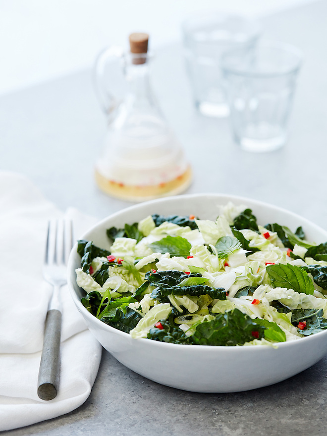 Thai Slaw Salad with Basil and Mint Leaves