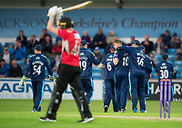 Picture by Allan McKenzie/SWpix.com - 16/05/2017 - Cricket - Royal London One-Day Cup - Yorkshire County Cricket Club v Leicestershire County Cricket Club - Headingley Cricket Ground, Leeds, England - Yorkshire's Ben Coad celebrates dismissing Leicestershire's Tom Wells.