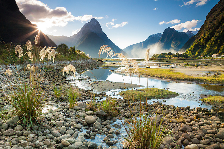 Mitre Peak and Milford Sound in the late afternoon near sunset, Fiordland National Park, South Island, New Zealand - stock photo, canvas, fine art print