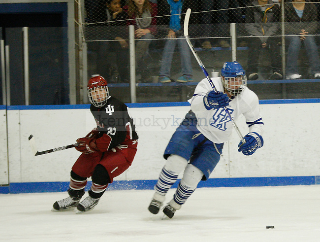 A UK player skates with the puck at UK's home game against Indiana University at Lexington Ice Center in Lexington, Ky., on Friday, Nov. 4, 2011. UK lost 5-3. Photo by Tessa Lighty | Staff