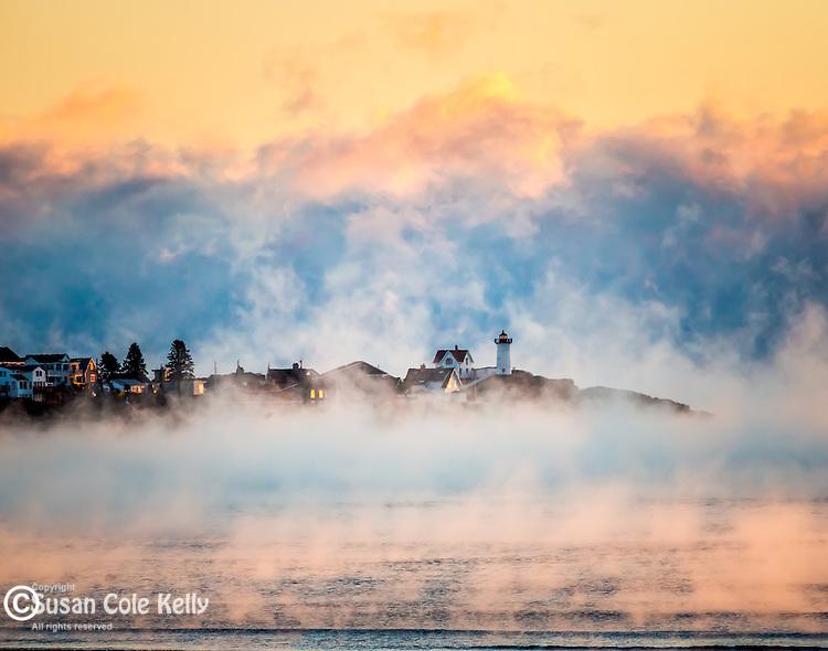 A winter sunrise at Nubble Light, York, Maine, USA