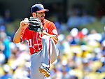24 July 2011: Washington Nationals pitcher Jason Marquis on the mound against the Los Angeles Dodgers at Dodger Stadium in Los Angeles, California. The Dodgers defeated the Nationals 3-1 to take the rubber match of their three game series. Mandatory Credit: Ed Wolfstein Photo
