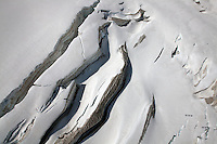 Glacier on the Mont Blanc Massif, near Chamonix, France.