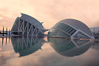 Museum of Sciences Principe Felipe, 40,000 square meters devoted to bringing science and technology closer to the public ; The Hemisphere, first area of the City of Arts and Sciences covering 14,000 square meters, City of Arts and Sciences, Santiago Calatrava, Valencia, Comunidad Valenciana, Spain ; 1998 - 2000 Picture by Manuel Cohen