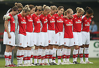 Arsenal Ladies observe a minute's silence for Armistice Day - Arsenal Ladies vs Sparta Prague - UEFA Women's Champions League at Boreham Wood FC - 11/11/09 - MANDATORY CREDIT: Gavin Ellis/TGSPHOTO - Self billing applies where appropriate - Tel: 0845 094 6026