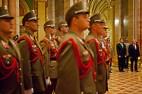 Laszlo Kover (3rd R) speaker of the house and Csaba Hende (R) Defense Minister of Hungary attend the inauguration of the new members of the Guard of the Crown take an oath in the Hungarian Parliament in Budapest, Hungary on September 20, 2011. ATTILA VOLGYI