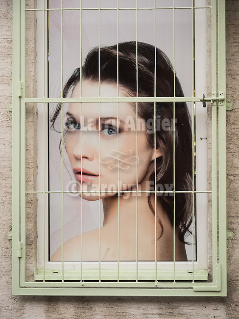 Woman behind bars, Belgrade, Serbia