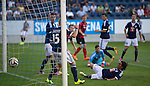 FC Luzern v St Johnstone...17.07.14  Europa League 2nd Round Qualifier<br /> A diving Jahmir Hyka can't prevent Steven MacLean's shot crossing the line to give saints the lead<br /> Picture by Graeme Hart.<br /> Copyright Perthshire Picture Agency<br /> Tel: 01738 623350  Mobile: 07990 594431
