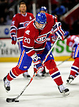 10 April 2010: Montreal Canadiens' defenseman Ryan O'Byrne warms up prior to a game against the Toronto Maple Leafs at the Bell Centre in Montreal, Quebec, Canada. The Maple Leafs defeated the Canadiens 4-3 in sudden death overtime. Mandatory Credit: Ed Wolfstein Photo