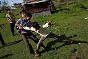 Village boys play kabbadi outside the school in village Gaura, outskirts of Bhopal, Madhya Pradesh, India.