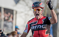 race winner Greg Van Avermaet (BEL/BMC) crossing the finish line of the 60th E3 Harelbeke (1.UWT)<br /> <br /> 1day race: Harelbeke &rsaquo; Harelbeke - BEL (206km)