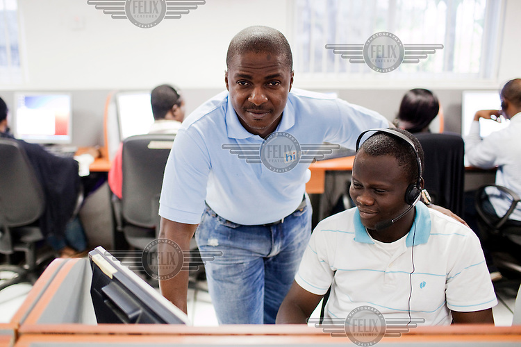 Toyin Subair, CEO of Nigerian satellite television provider Hi TV at the company's customer service call centre in Ikeja.