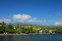 Hana Bay, beach park and town from the pier; Hana Coast, Maui, Hawaii.