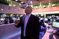 Darren in the newsroom of Al Jazeera English in Doha.