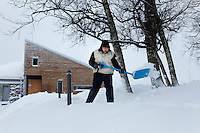 "Brother Bruno shoveling snow...The new Munkeby Mariakloster - kloster is Norwegian for monastery . The four founding French monks will establish their discrete presence as a contemplative monastery according to the Rule of Saint Benedict, written in the 6th century. Brother Joel (55) & Cîteaux's Prior, brothers Arnaud (31), Bruno (33) and Cyril (81), have all chosen to be part of the founding community, despite Norway's rude climate and winter darkness at latitude 63º N, not far from the arctic circle.Munkeby, the ""place of the monks"" was the third and northernmost Norwegian monastery established by the Cistercians in the 12th century"