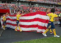 15 September 2012: The flag of the United States of America is escorted out onto the pitch during the opening ceremonies in an MLS game between the Philadelphia Union and Toronto FC at BMO Field in Toronto, Ontario..The game ended in a 1-1 draw..