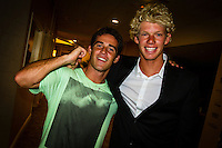 HONOLULU, Oahu, Turtle Bay Resort. Thursday 6th 2012. Mason Ho (HAW) and John John Florence (HAW)..Since moving the show to Oahu's North Shore three years ago, the 2012 SURFER Poll saw its largest turn out ever. From surfing's best to local legends, the packed house witnessed another historic night, as Kelly Slater (USA) and Stephanie Gilmore (AUS) won this year's Men's and Women's Polls. Gabriel Medina (BRA) won the Andy Irons Break Out Performer of the year award and finished #4 on the Surfer Poll while Dane Reynolds (USA) picked up two awards as well. Photo: joliphotos.com