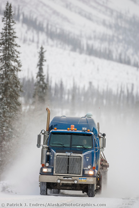 Trucker travels the James Dalton Highway (Haul Road), taking supplies to the Prudhoe Bay Oil Fields.