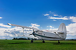 AN-2 airplane in a field under blue cloudy sky