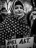 Make Art - A protester shows her solidarity with muslim women during the Women's March in Washington DC 21 January, 2017 PHOTOS/John Nelson