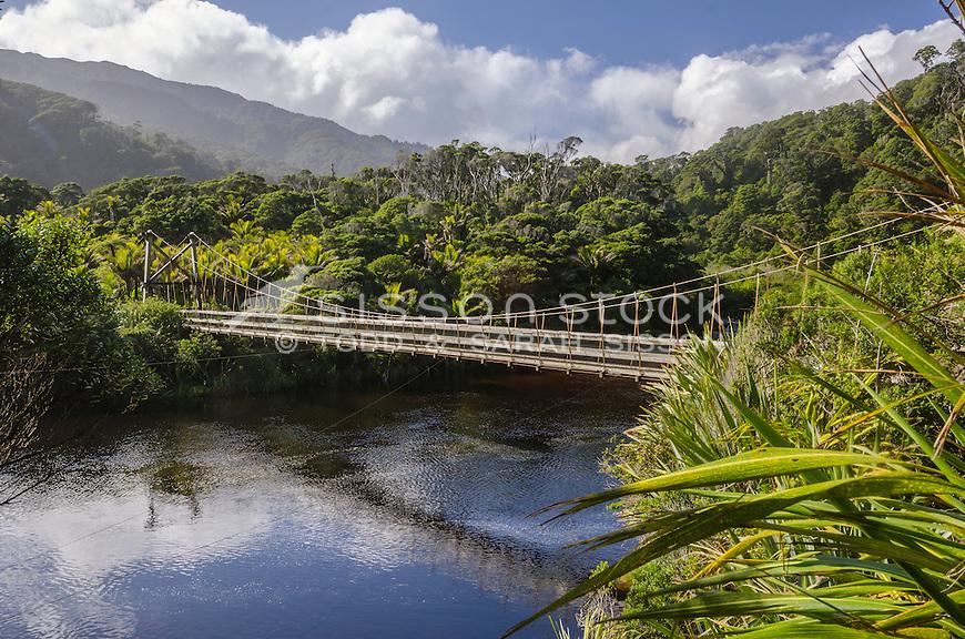 Swing Bridge, Heaphy Track, Kohaihai River, New Zealand - stock photo, canvas, fine art print